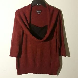 AB Studio red and black sweater